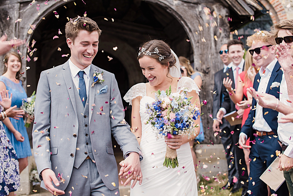 A Pale Blue and Flower Filled Tipi Wedding in the English Countryside