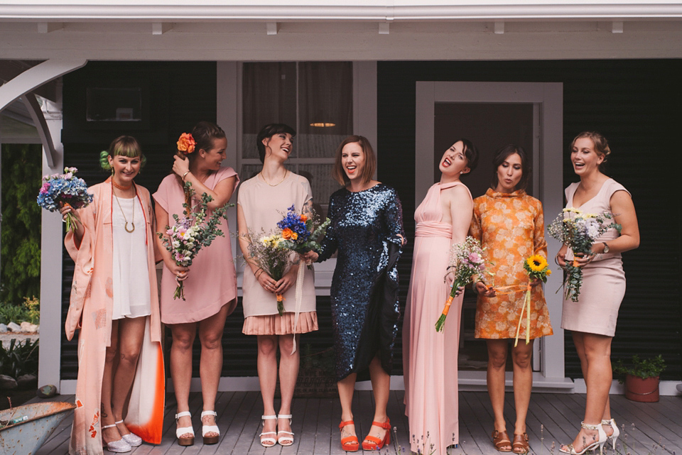 A Blue Sequin Dress for a Laid Back and Colourful Picnic Wedding
