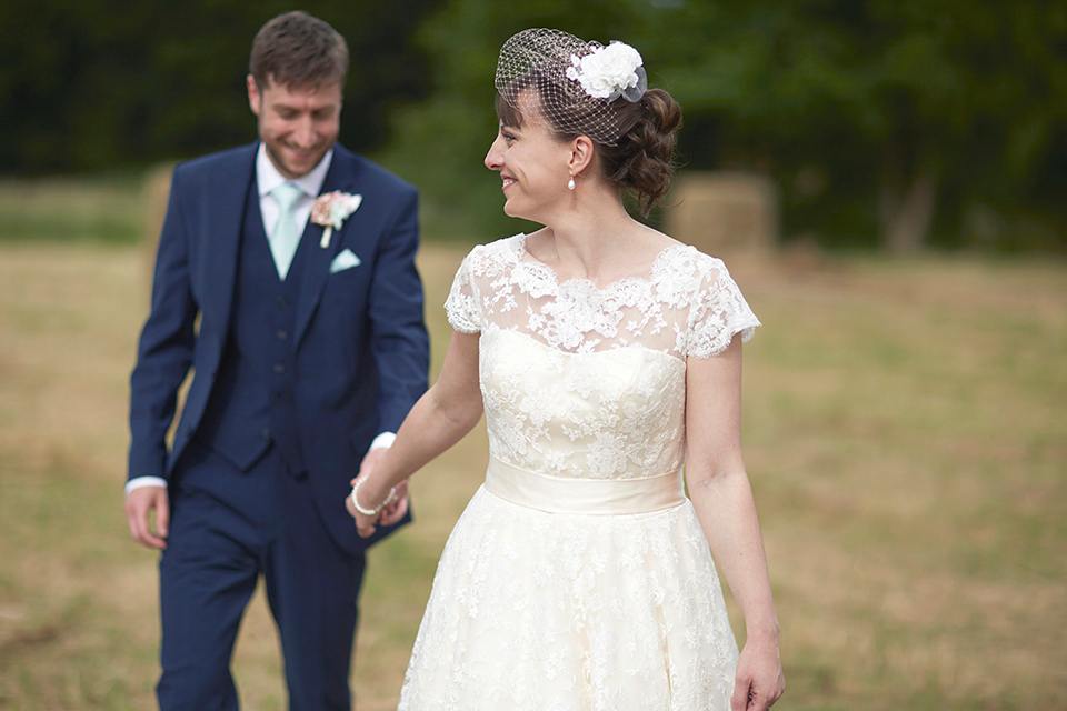 A Tea Length Dress and Fabric Flowers for a Wedding in the Cambridgeshire Countryside