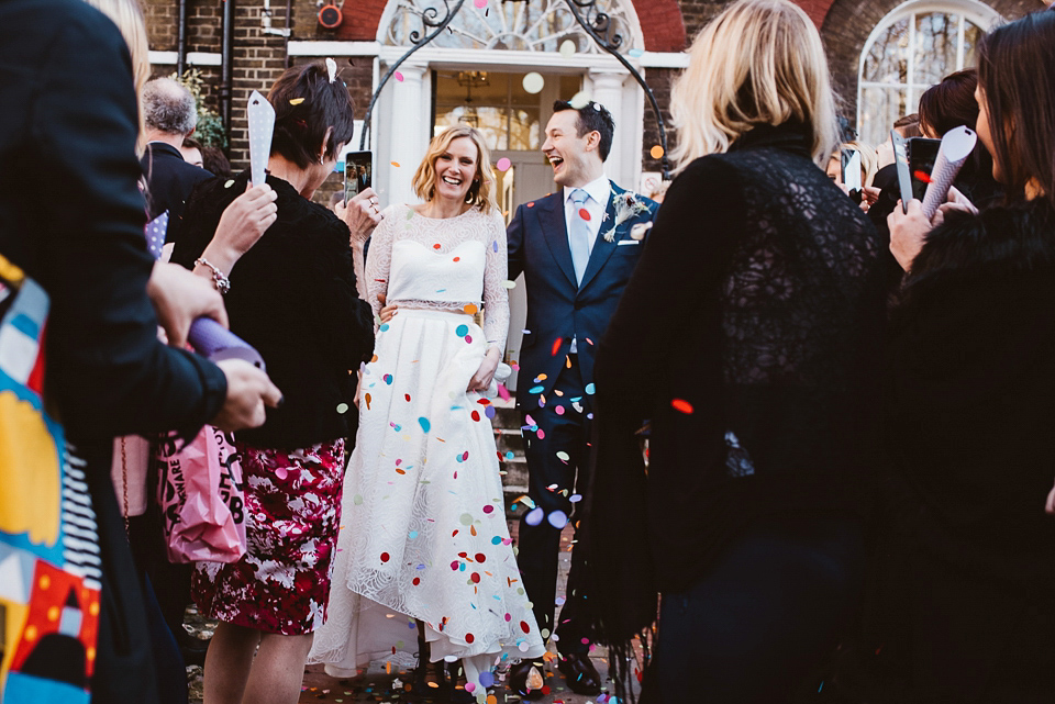 A Two-Piece Rime Arodaky Gown for a Laid Back, Fuss Free and Informal Restaurant Wedding in London