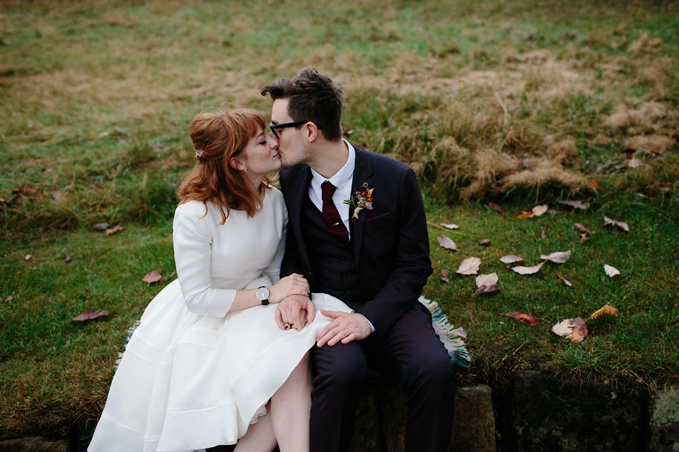 A Short 1960s Inspired Delphine Manivet Gown for an Intimate Bonfire Night Wedding in Edinburgh