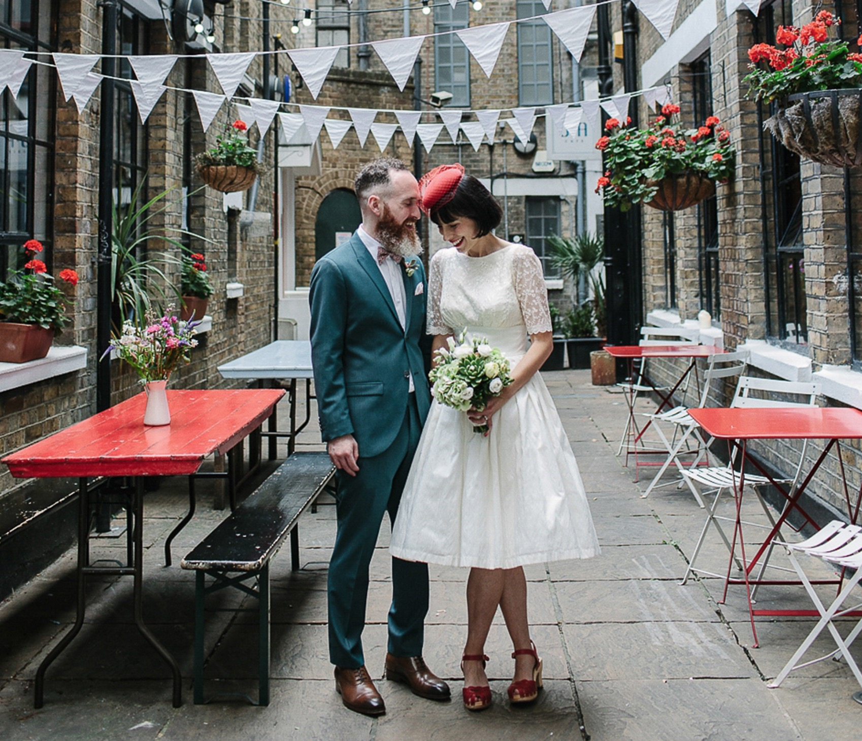 A Red Pillbox Hat and Swedish Hasbeens for an Intimate London Cafe Wedding