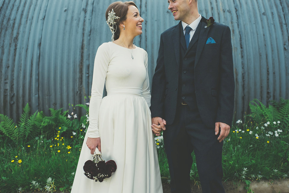 A First Look, Faux Flowers and a Long Sleeved Dress Made by the Bride