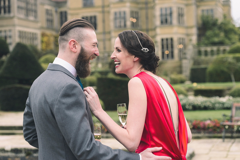 A Red Silk Amanda Wakeley Dress for an Oscars Glamorous Inspired Tinder Wedding