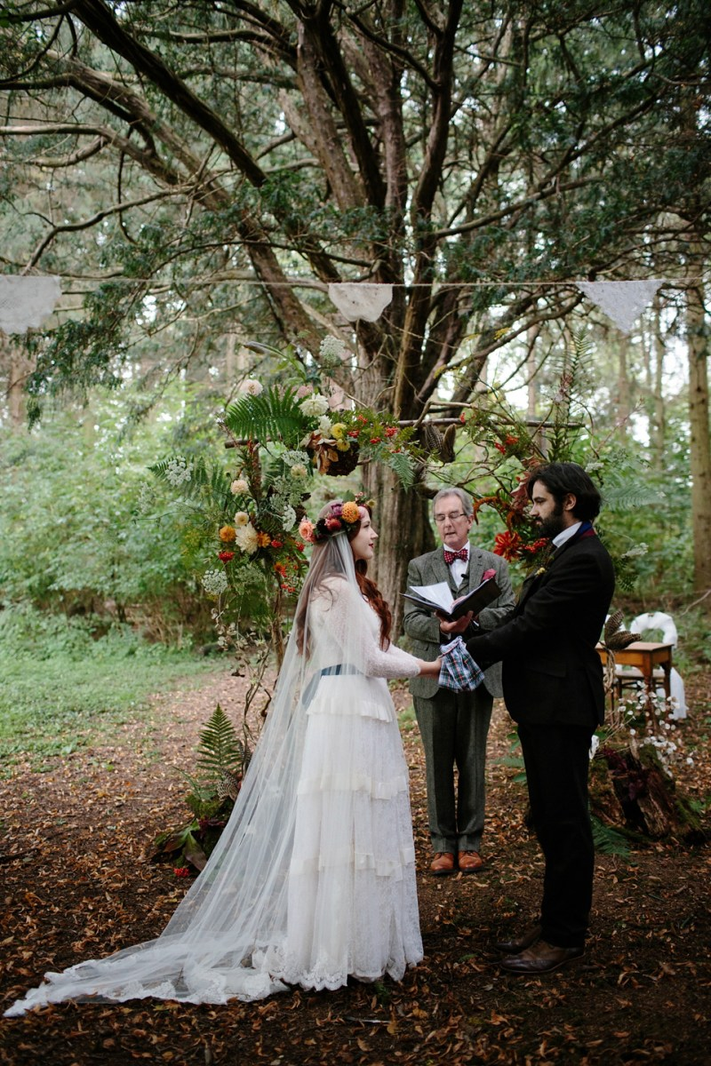 A Humanist Woodland Wedding For An Ethereal Flame-Haired 1940's Bride