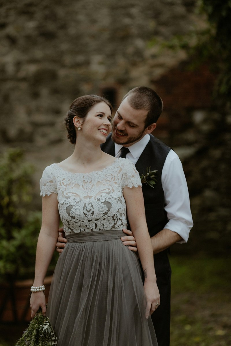 Soft Grey Jenny Yoo Tulle and Tadashi Shoji Lace for an Intimate and Rustic Italian Villa Wedding