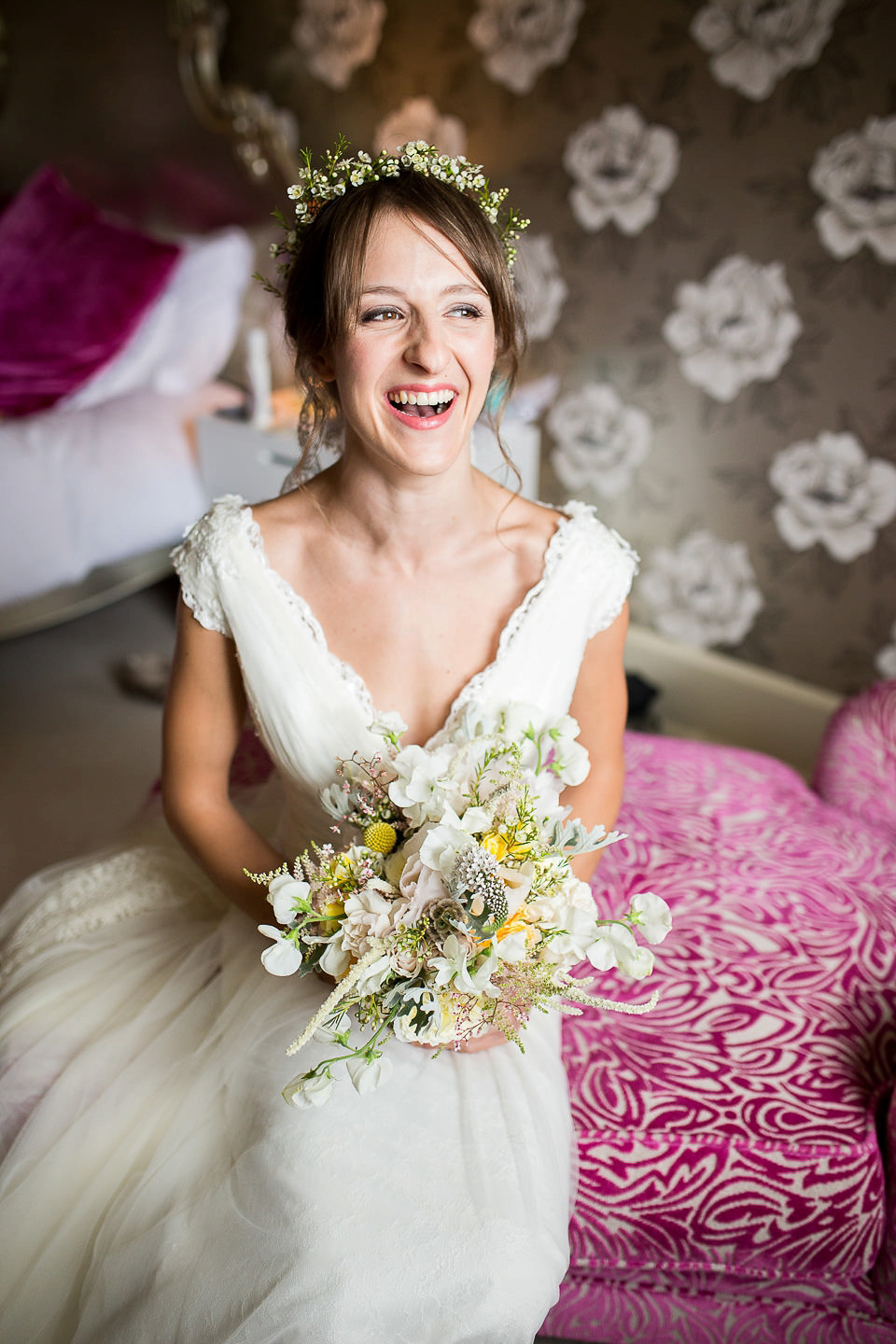 Lusan Mandongus Elegance and an Heirloom Veil for a Relaxed English Country Garden Wedding