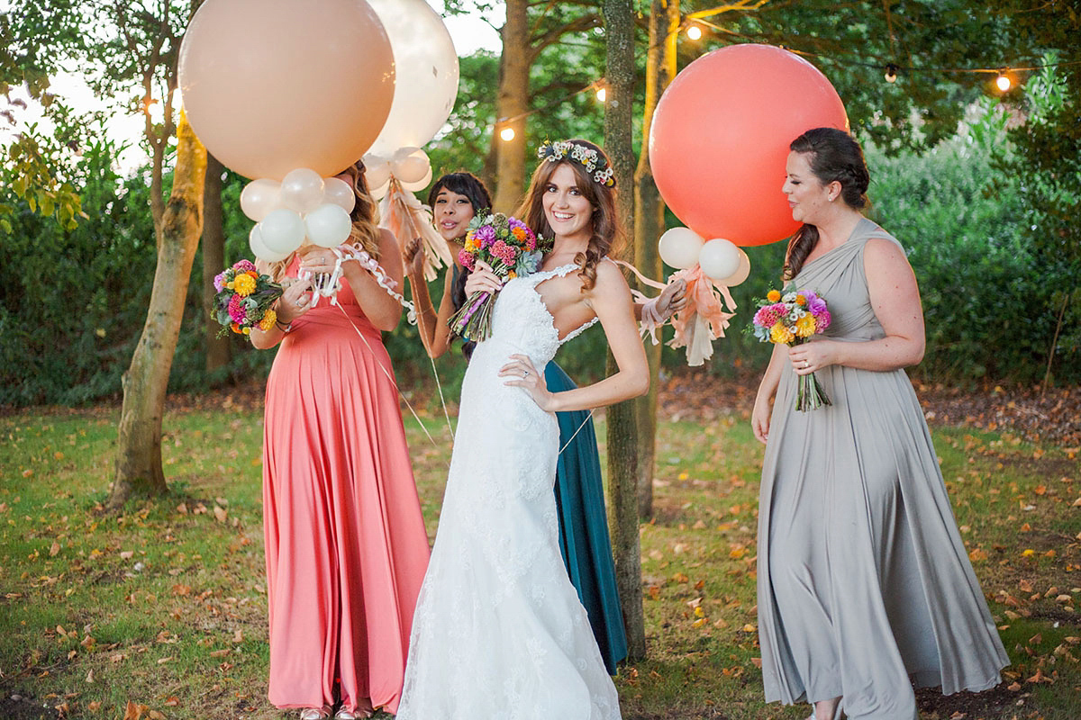 A Backless Pronovias Gown For A Colourful And Fun-Filled Summer Barn Wedding