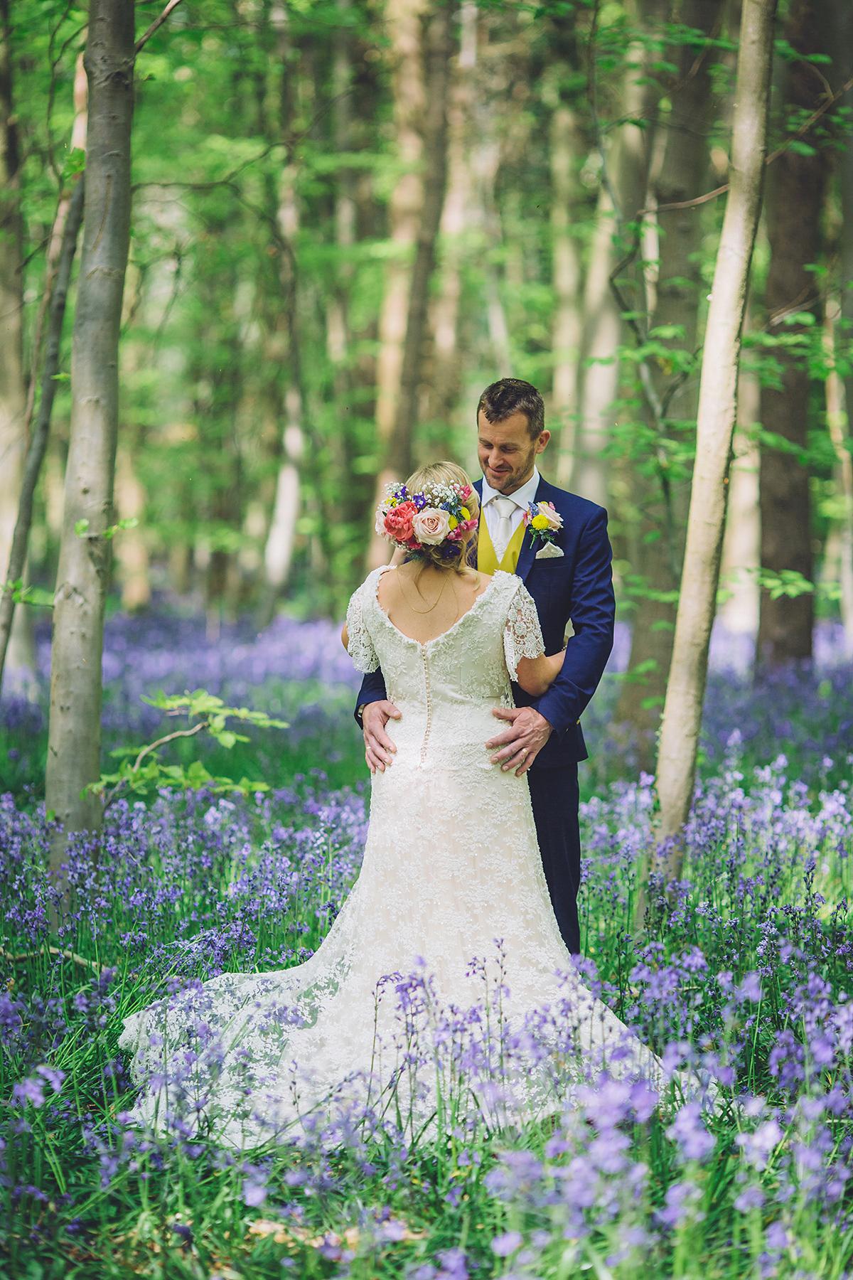 colourful whimsical bluebells woodland wedding woodland wedding dress A Bridal Boutique Owner s Colourful and Whimsical Woodland Wedding Amidst The Bluebells Weddings