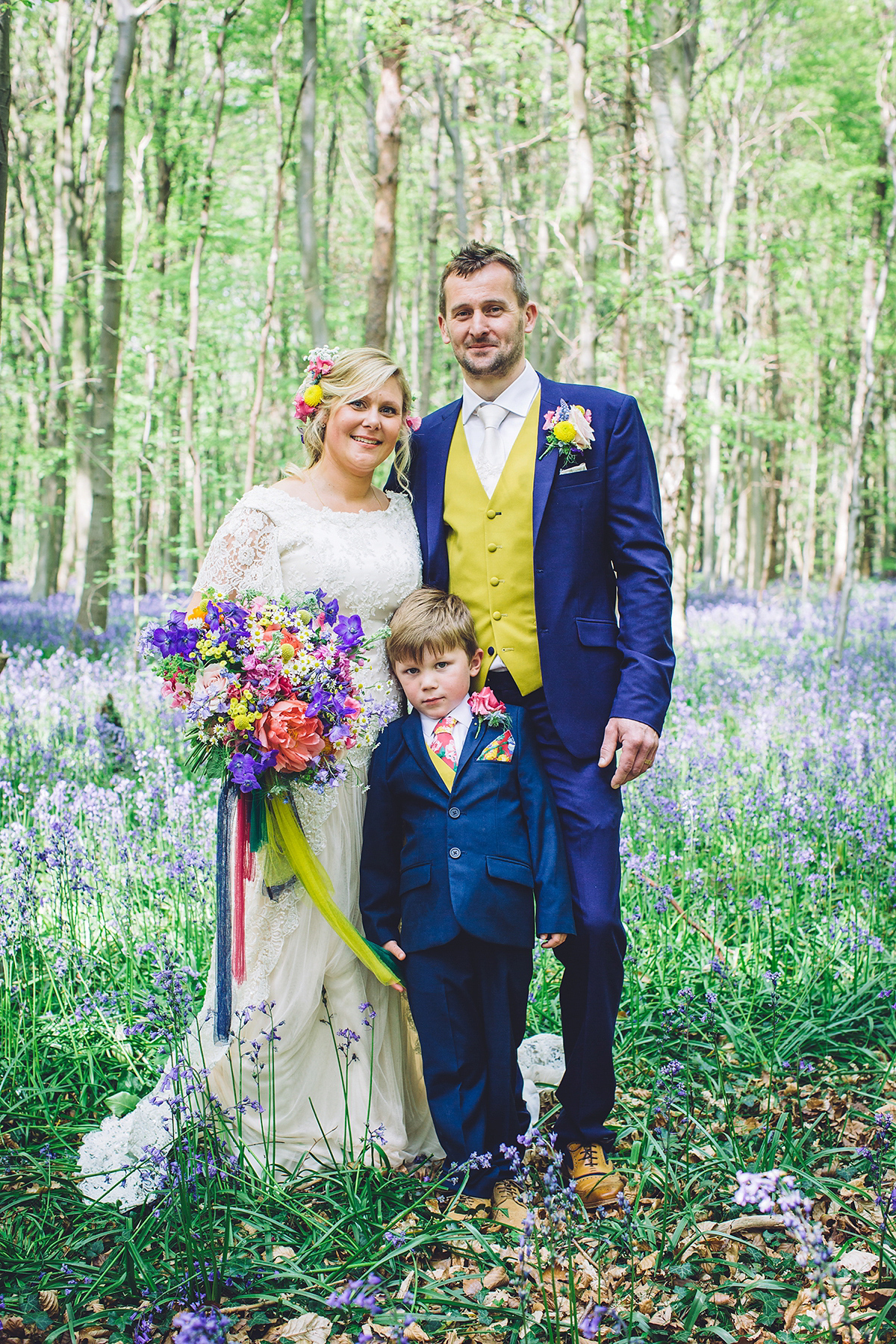 A Bridal Boutique Owner's Colourful and Whimsical Woodland Wedding Amidst The Bluebells