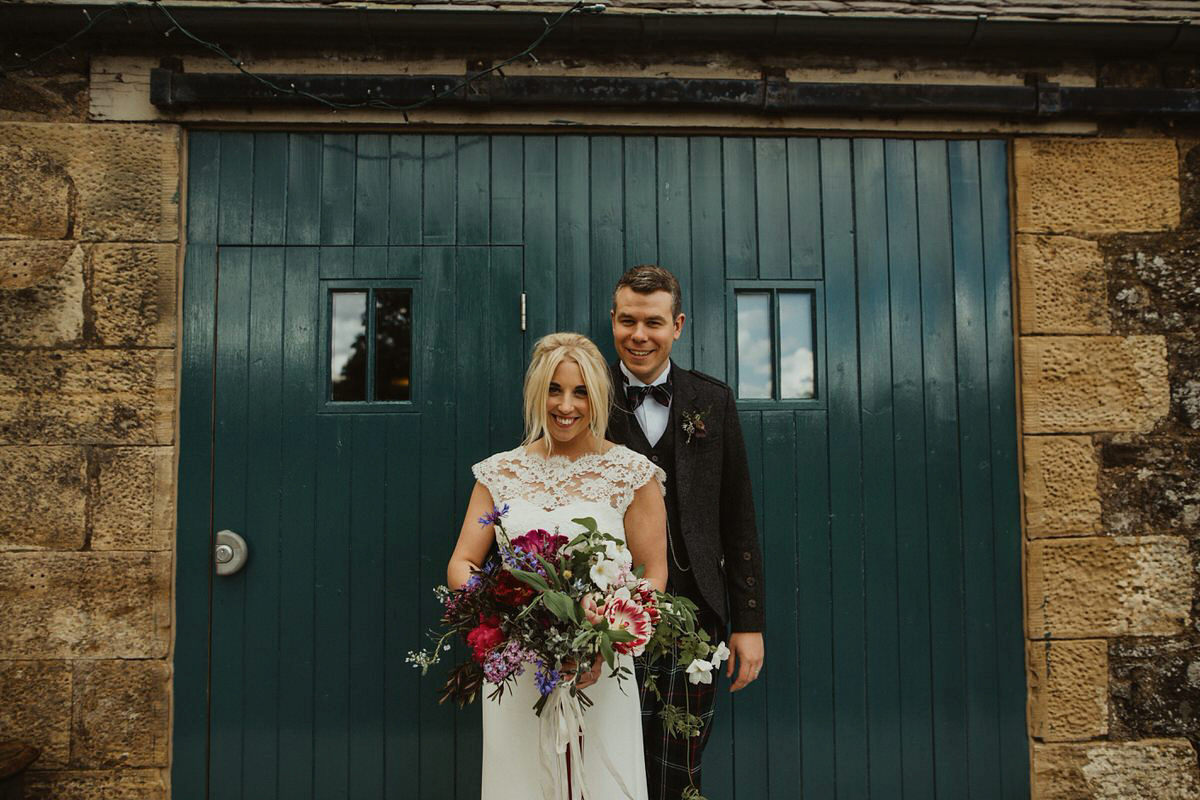 Stewart Parvin Lace And Bridesmaids In Emerald For A Nature Inspired Scottish Wedding