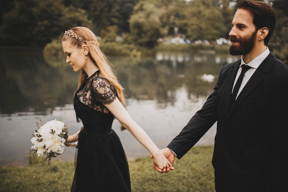 An Alexandra Grecco Dress in Black Lace for a Nature and Minimalist Inspired Castle Wedding