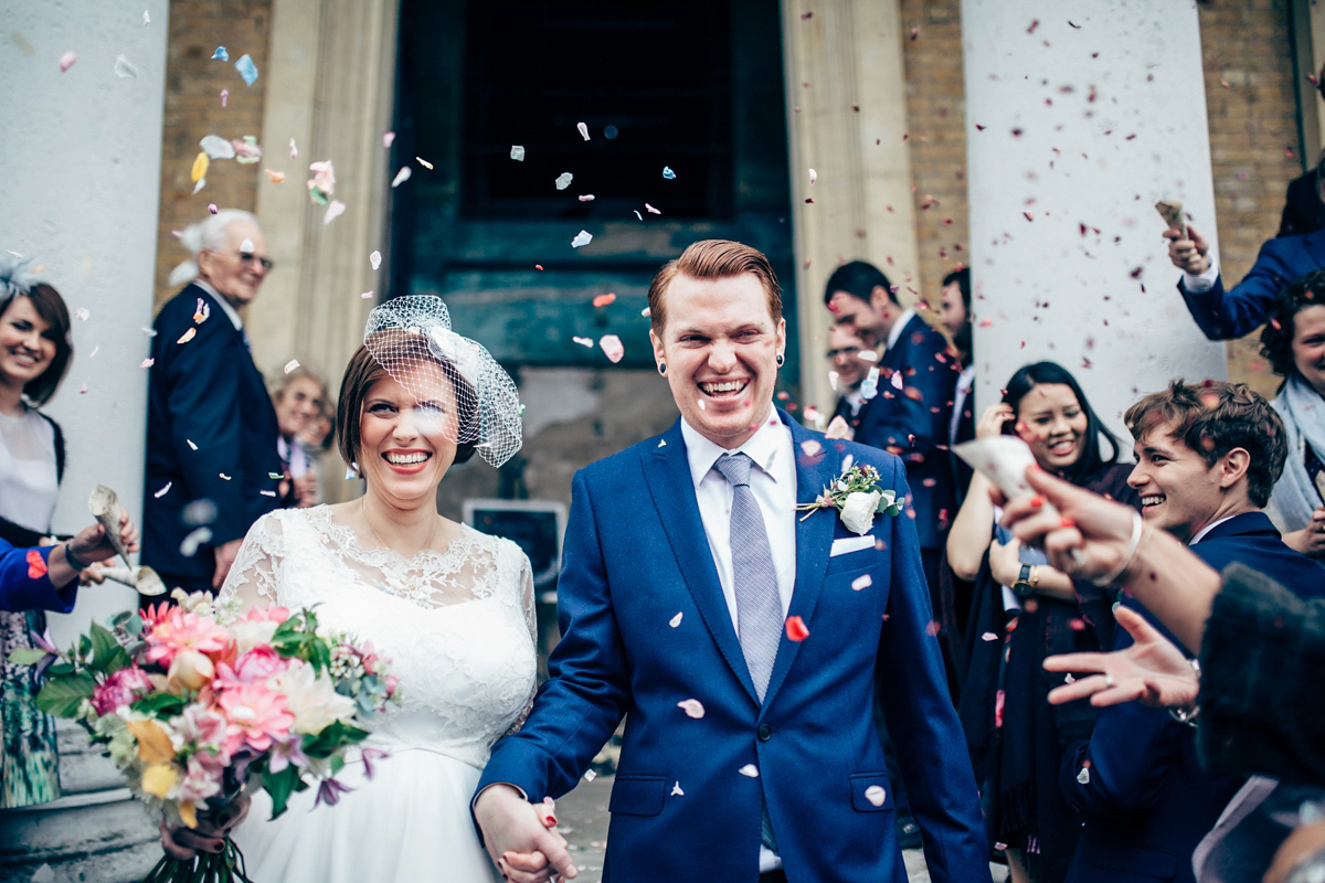 A 1950s Inspired Dress and Birdcage Veil for a Modern and Laid Back London Pub Wedding