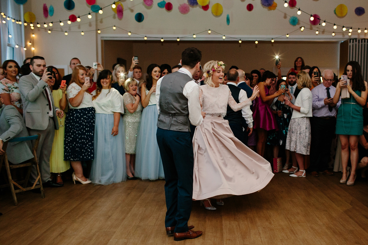 A Pale Pink Wedding Skirt for a Fun and Colourful Scottish Chapel Wedding (Weddings )