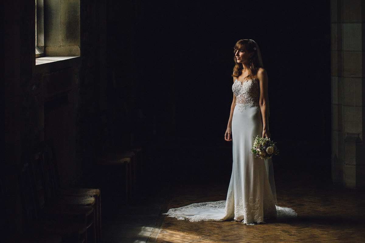 A Martina Liana Gown for an Elegant and Rainy Day Barn Wedding