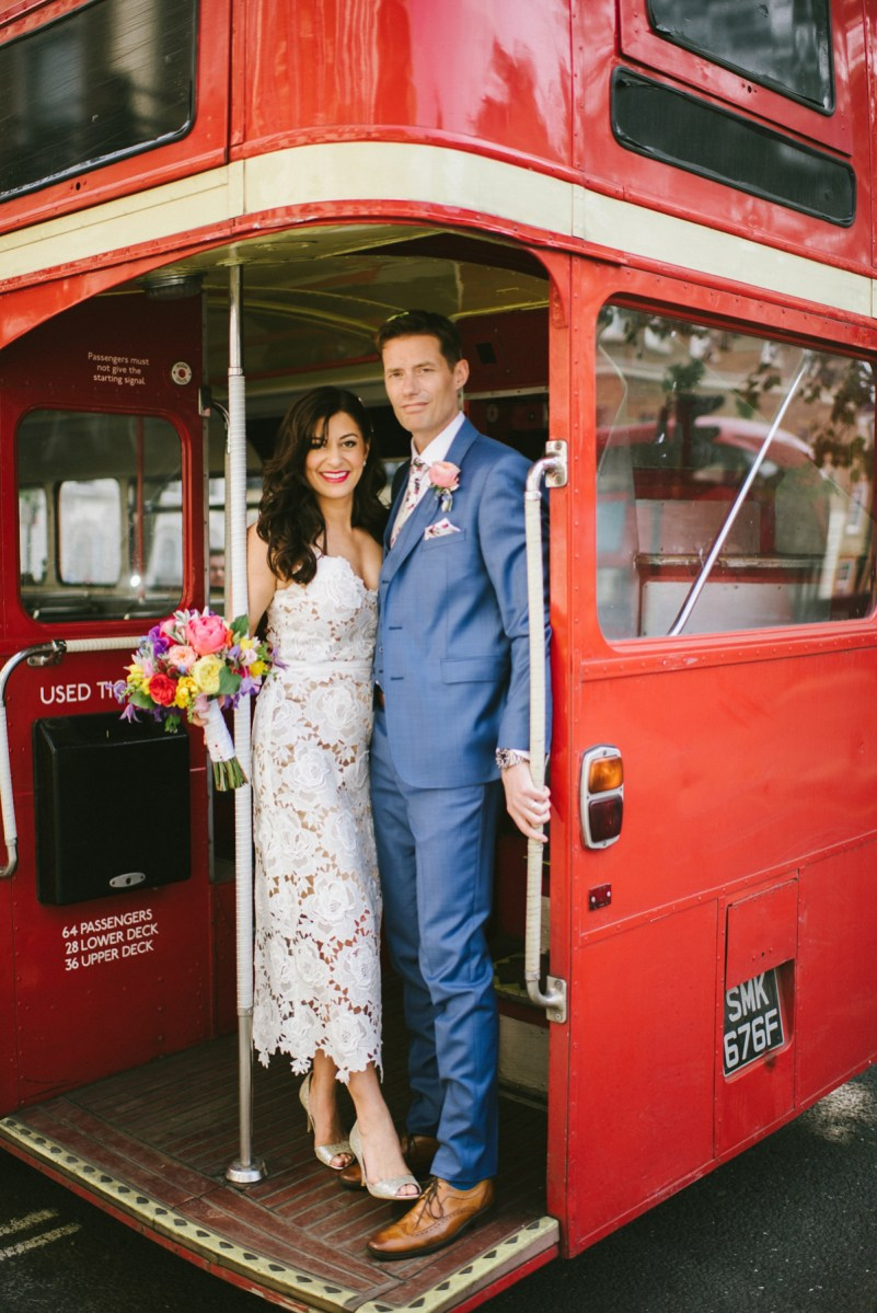 A Catherine Deane dress for a Fun-Filled and Colourful London Wedding