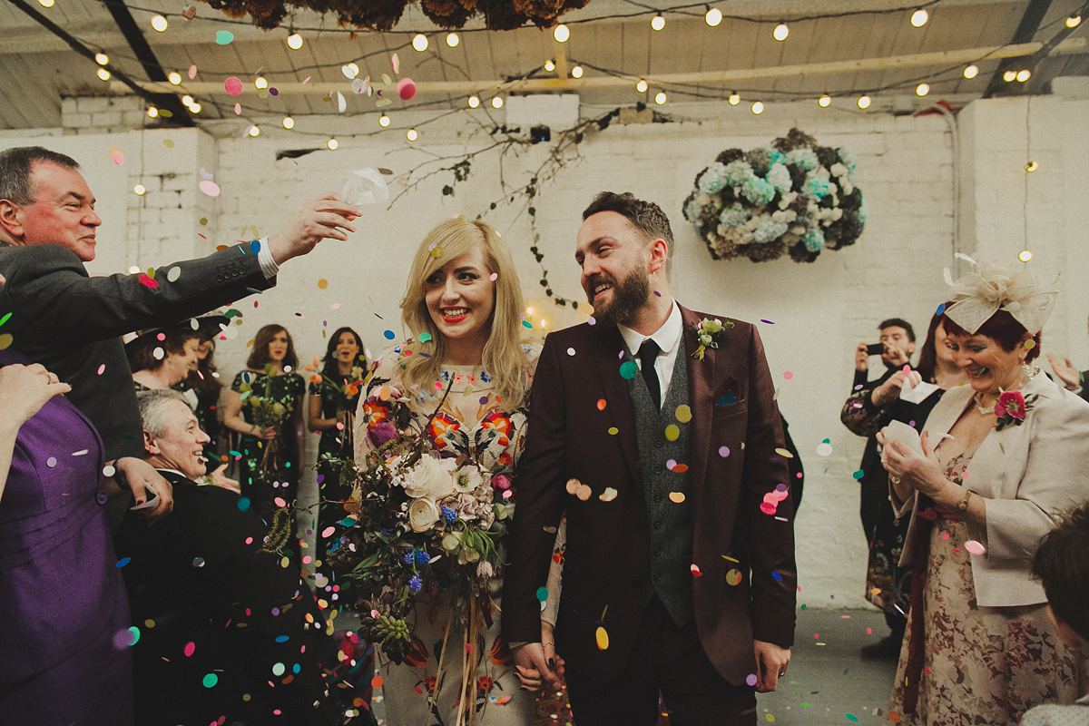 A Colourful Temperley London Dress For A Vibrant Warehouse Wedding