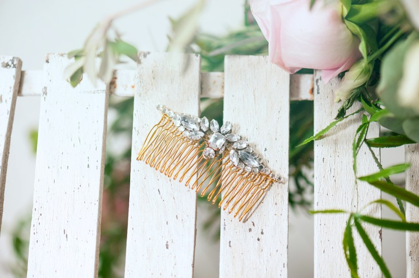 Crawley crystal embellished gold comb by Halo & Co