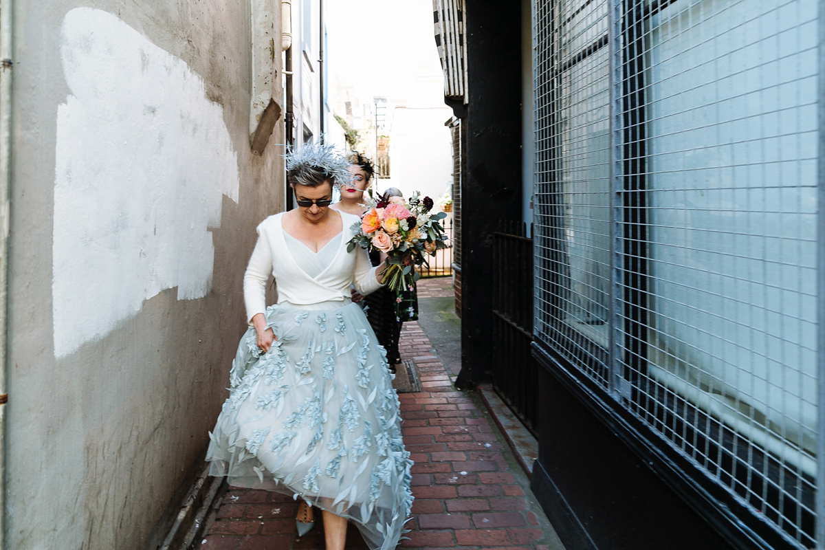 A Bespoke Blue Suzanne Neville Gown for an Intimate and Secret Wedding in Brighton (Weddings )