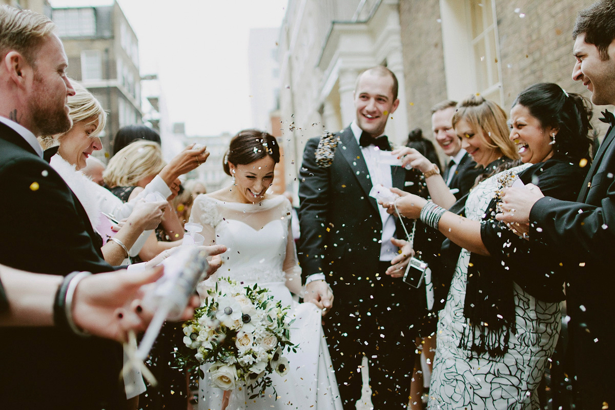 A Long-Sleeved Suzanne Neville Gown For A Black Tie Winter Wedding In London