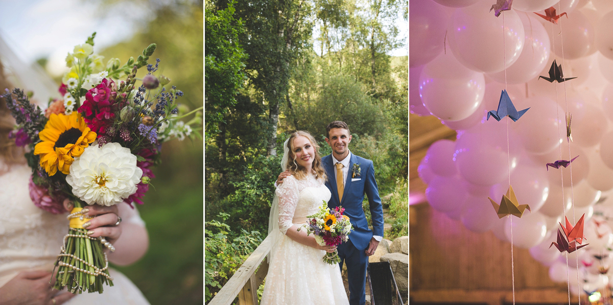 A Colourful Woodland Wedding with 700 Paper Cranes and an Apricot Lace Dress