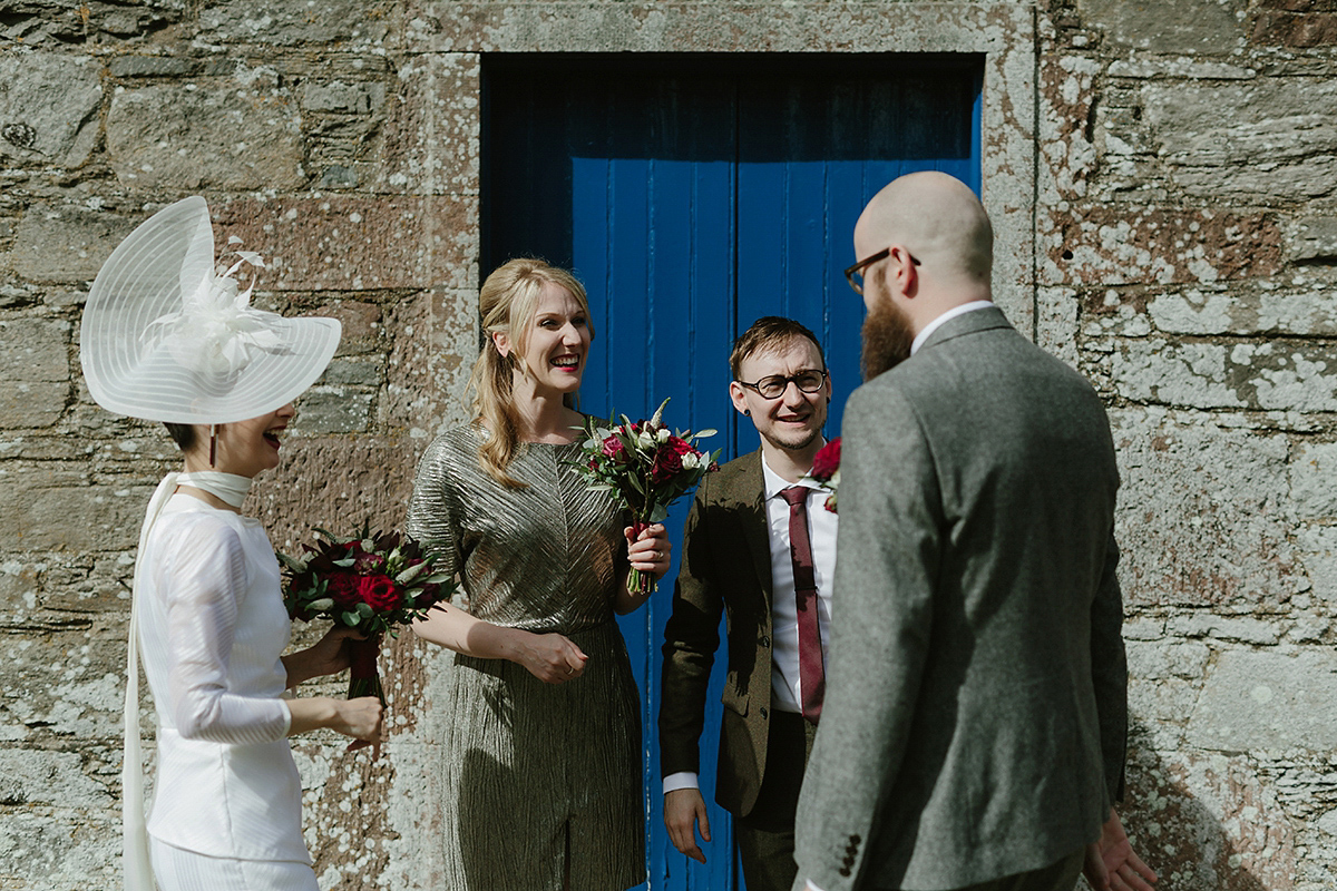 A 1980's Vintage and Geometric Inspired Colourful Village Hall Wedding (Weddings )