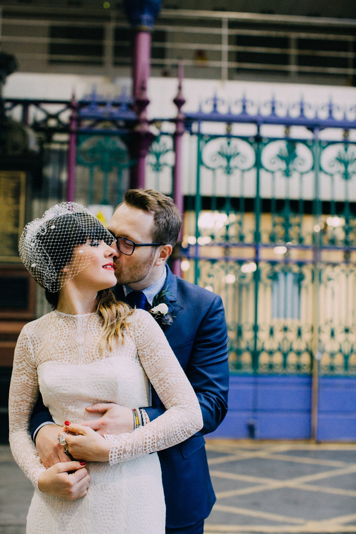 A Long Sleeved Jesus Peiro Dress for a Cool, Modern, London Pub Wedding