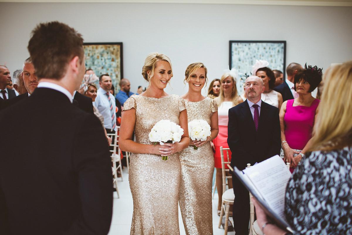 Bridesmaids in Sequin Gold Gowns and a Classically Elegant Caroline Castigliano Bride (Weddings )