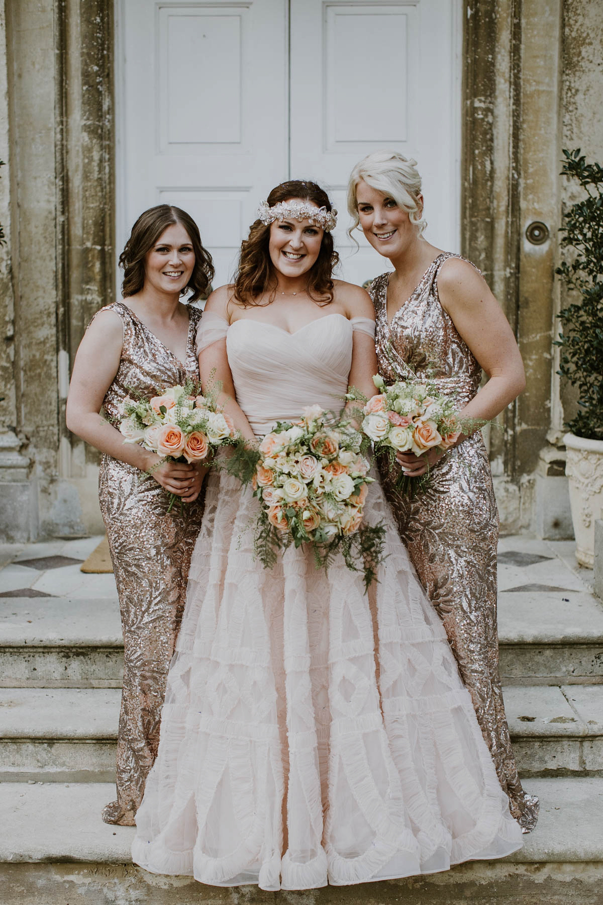 A Blush Pink Watters Wedding Dress and Laid Back Glamour (Weddings )