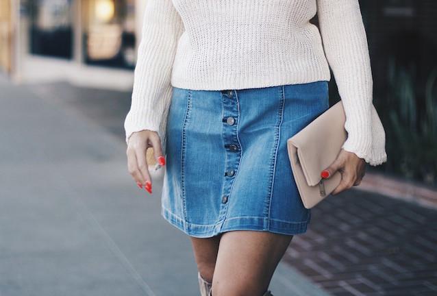 Front Button Denim Skirt