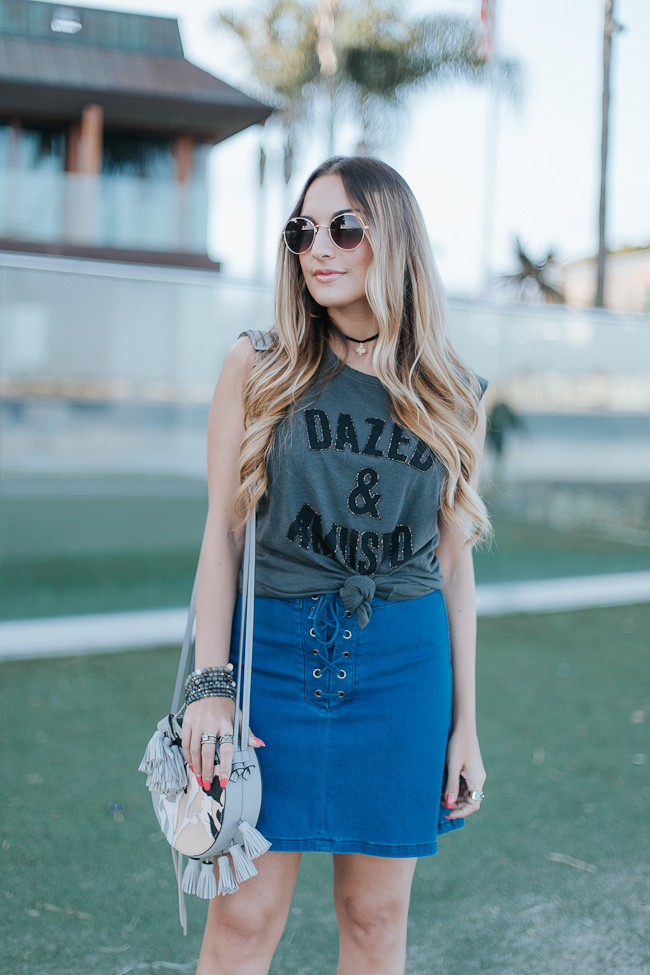 Guess Lace Up Denim Skirt-4