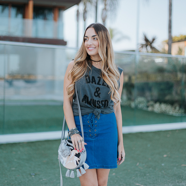 Guess Lace Up Denim Skirt-6
