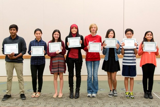 Anish Saha (2nd - HS), Jacqueline He (1st- HS), Sofia Kritikopoulos (3rd-HS), Ziana Deen (Grand Prize), Emma Mustovic (3rd _MS), Jamie Dy (1st -MS), Brandon Yan (2nd -MS), and Akshitha Venguideshe (Honorable Mention-MS). Alisha Khieu (Honorable Mention-HS) is not pictured.