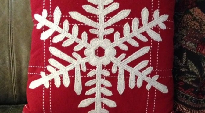 snowflake red pillow