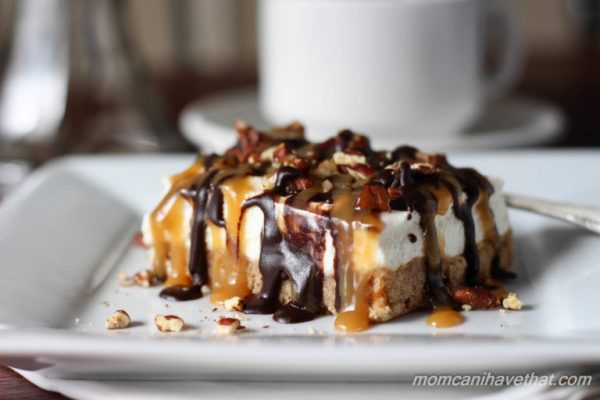 Pecan Turtle Cheesecake Bars have a brown sugar pecan crust & light ...