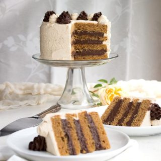 """This super moist """"peanut butter"""" cake, filled with rich chocolate pastry cream & frosted with peanut butter whipped cream will have you shouting """"Holymoly!""""  low carb, gluten-free, keto, thm-h"""