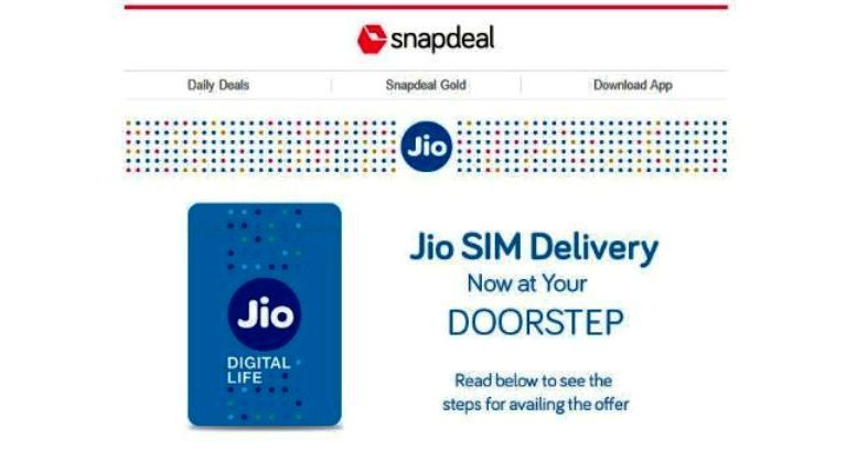 Snapdeal to home deliver Reliance Jio 4G SIM