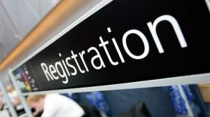 Registration desk sign