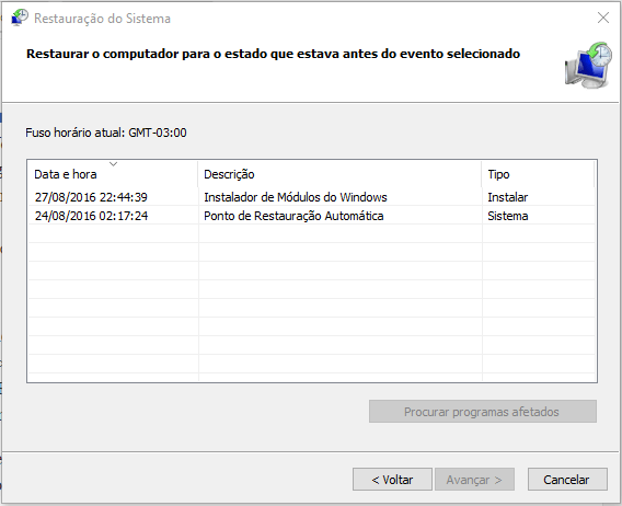 Restauração do Sistema Windows