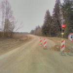 Šviesoforas remontuojamame kelio ruože Lukonys-Akmeniai