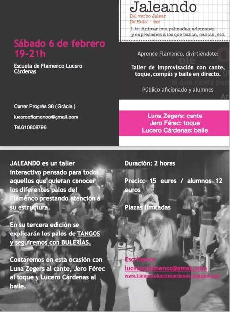 Cartel taller Jaleando 6-1-2016