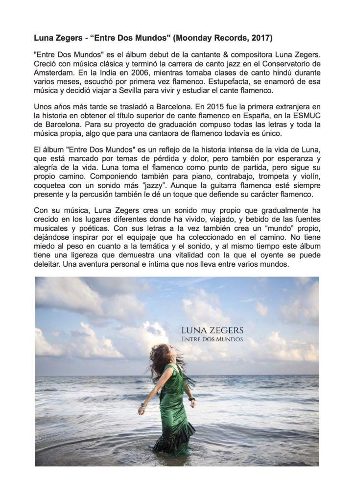 Luna Zegers - Entre Dos Mundos (historia álbum).-