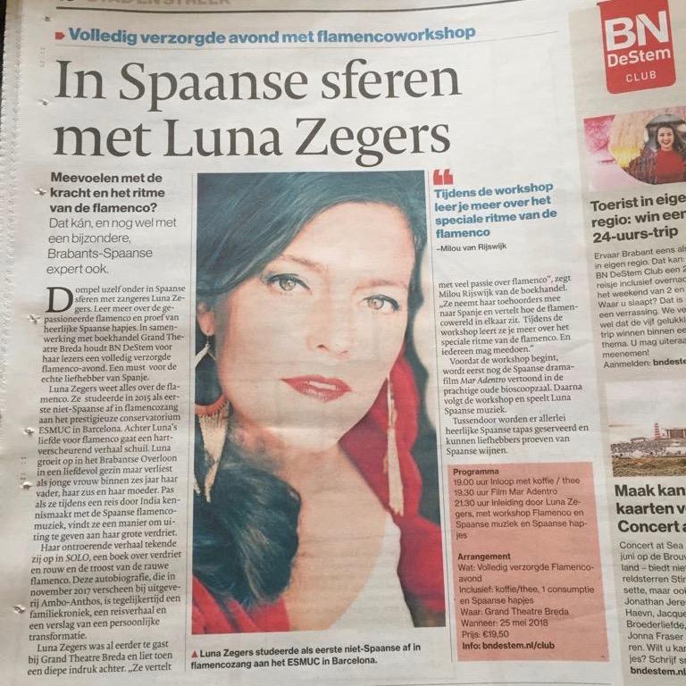 Luna Zegers workshop & concert Grand Theatre Breda 25-5-2018