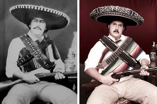 Il vero Pablo Escobar a sinistra e l'attore Andrés Parra a destra