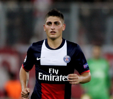 Marco Verratti,, centrocampista del Paris Saint-Germain (Francia) è nato a Pescara 5 novembre 1992