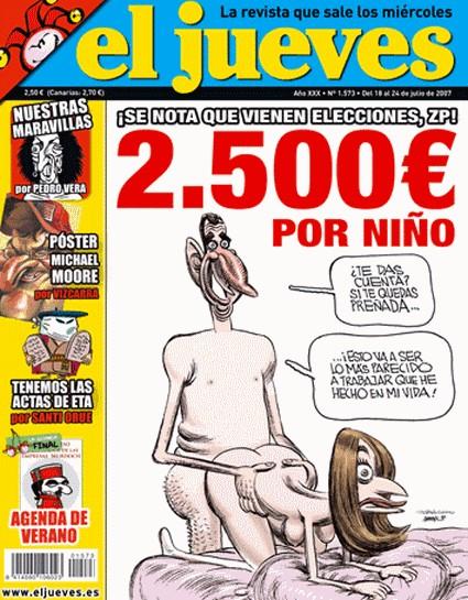 """La portada de un numero de la revista """"el jueves"""" del 2007"""