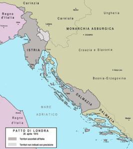 I territori promessi all'Italia dal Patto di Londra del 26 aprile 1915.