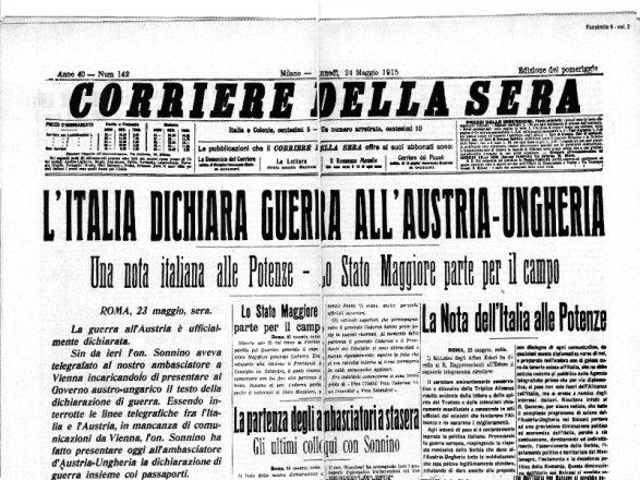 L anno prima della guerra maggio 1915 for Corriere della sera arredamento