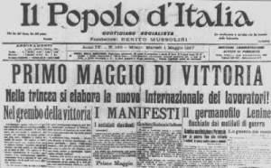 Il Popolo d'Italia celebra il Primo Maggio con toni bellicosi.