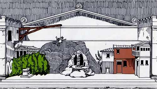 Ricostruzione della scenografia delle Tesmoforiazuse di Aristofane, con macchinario per sollevare un attore (da U. Albini, Il teatro greco, Archeo-Dossier, 23, 1987, p. 34)